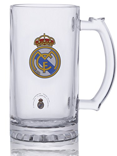 Real Madrid FC Short Beer Mug - Glass Mug With The Real Madrid Crest In Full Color - Buy The Real Madrid Beer Mugs For Your Next Party - Get A Mug For A Friend, Get Some For You Too!