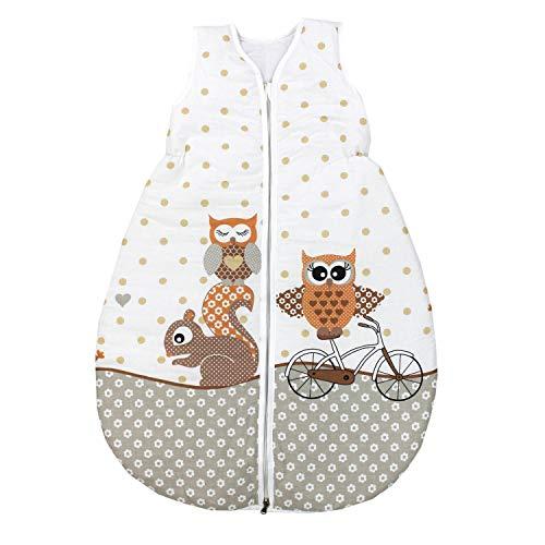 TupTam Unisex Baby Schlafsack ohne Ärmel Wattiert, Farbe: Eulen 2 Beige, Größe: 62-74