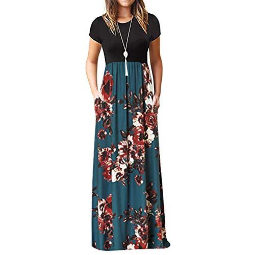 TIFIY Sommerkleid Damen,Elegante Casual Ärmel Oansatz Druck Maxi Blumen Langes Kleid Boho Strand Partykleider Hemdkleider (A_ g,M