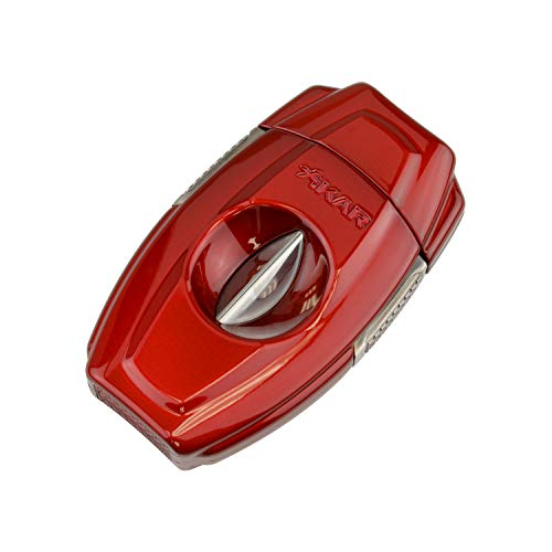 Xikar VX2 V-Cut Cigar Cutter, Up to 70 Ring Gauge, Built-in 64RG Bowl, Stainless Steel Blades, Attractive Gift Box, Ergonomic Design, Secure-Lock, Spring-Loaded, Daytona Red
