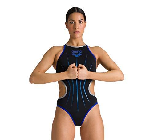 ARENA Damen Arena Damen Sport One Electric Einteiliger Badeanzug, Black-neon Blue-silver, 36 EU