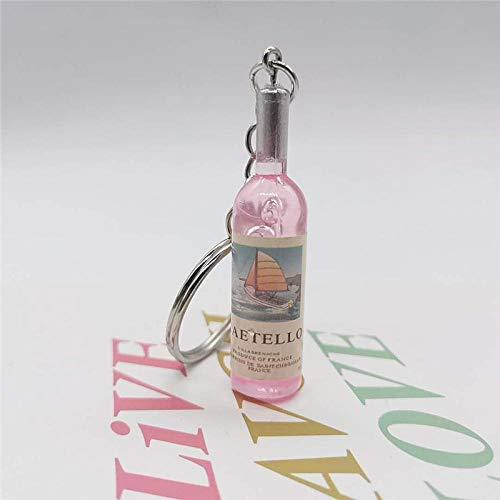 Wjlytf Vintage kleine Weinflasche geformte Schlüsselbund für Frauen und Männer Trinket Mahlzeiten Bier Schlüsselbund Party Schmuck-Pink