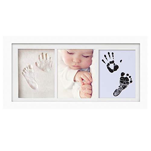 Baby Handabdruck und Fußabdruck,Baby Handprint Footprint Clay Fotorahmen, Holzrahmen und Acrylglas, Gips- & Abdrucksets für Babyerinnerungen, Zeremonie, Party, Meilo (white-33 * 18cm)