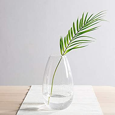 CASAMOTION Vases Hand Blown Art Glass Vase, Oxygen Bubbles Seeded Centerpiece Vases for Flower Arrangement, Clear, 9''h.