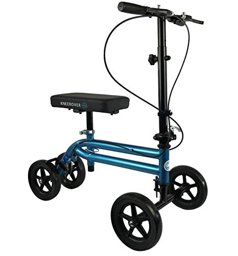 KneeRover Economy Knee Scooter Steerable Knee Walker Crutch Alternative with Dual Braking System in Metallic Blue