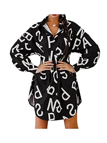 Charmlinda Vestido de mujer con un solo botón, dobladillo irregular, manga larga, cuello de solapa, estampado de letras, vestido de cárdigan casual