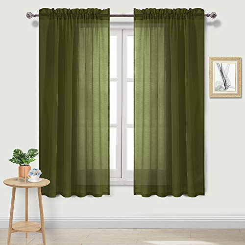 DWCN Olive Green Sheer Curtains Semi Transparent Voile Rod Pocket Curtains for Bedroom and Living Room, 52 x 63 inches Long, Set of 2 Panels