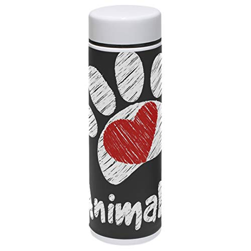 Dog Thermos Vacuum Insulated Bottle,I Love Animals Chalk Paw Vector Illustration 304 Stainless Steel Water Bottle for Kids Adult,BPA Free Coffee Travel Mug Cup Mini 7.5 Oz Best Birthday Christmas Gift