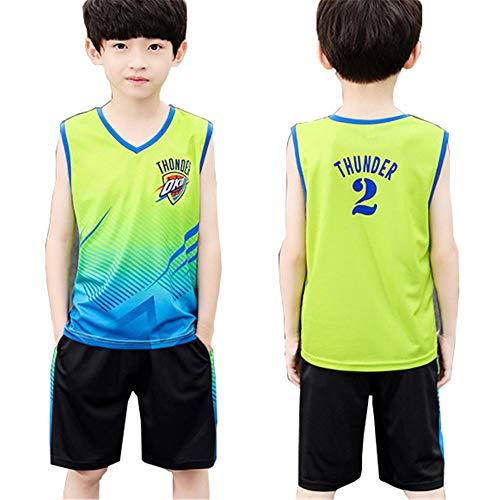 CURVEASSIST Basketball Trikots Sets Thunder # 2 Jungenweste Basketballanzug Ärmelloser Sport Schnelltrocknende Kleidung Zweiteiliger Anzug Grün,Green-150