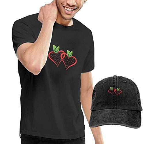 LYZBB Camisetas y Tops Hombre Polos y Camisas,Strawberry Logo Mens Round Neck Short Sleeve T Shirt and Cowboy Hat Black