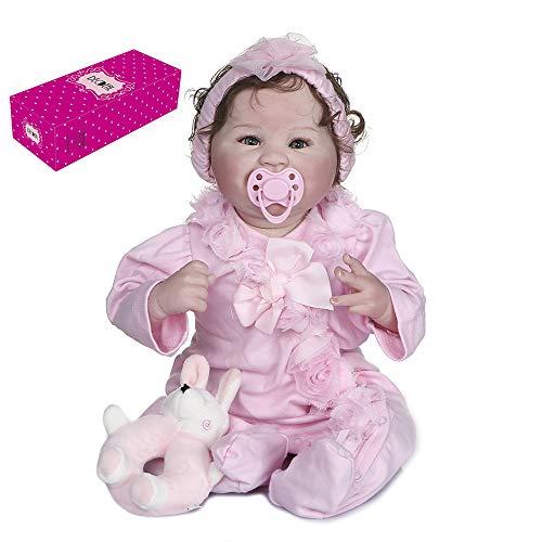 Duotar Boneca Reborn,Reborn Baby Doll 22 polegadas 55 cm Soft Touch Silicone Baby Dolls Pano Corpo Crianças Acompanham Boneca Presentes de Aniversário com Roupa Rosa e Brinquedo de Coelho