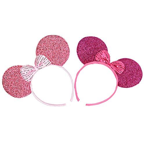 2 Stücke Mäuseohren Stirnbänder für Geburtstag Halloween Partys Mama Jungen Mädchen Haarschmuck Schöne Maus Ohren Haarreife Dekorationen (Rosa Rose Glitzer Paillette)