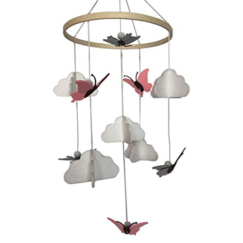 karrychen Baby Crib Felt Butterfly Cloud Mobile Rattle Infant Cot Wind Chime Bed Bell Toys- 1#