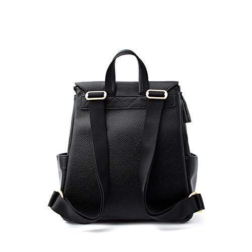 Freshly Picked - Convertible Mini Classic Diaper Bag Backpack - Large Internal Storage 8 Pockets Wipeable Vegan Leather (Ebony)