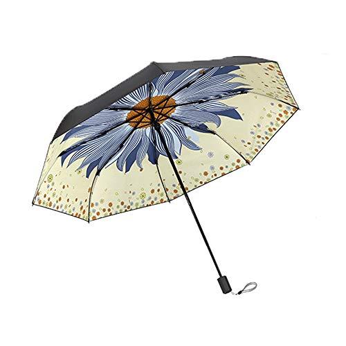 xinrongqu Regenschirm Echter Schwarzer Kunststoff Frische Sonnenschirm Sonnenschutz Uv Regen Dual-Use Taschenschirm Damen Regenschirm Beige 57 * 8 Karat