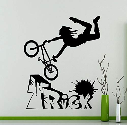 Mountain Bike BMX Bicycle Extreme Sports Freestyle Trick Bike Garage Wall Sticker Vinyl Decal Boy Fans Bedroom Living Room Club Studio Home Decor Mural