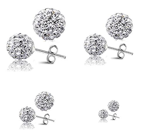 Pendientes de plata de ley 925, 3 pares, diseño de bola de Shamballa con cristales brillantes, 4, 6 y 8 mm