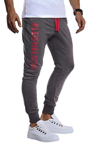 Leif Nelson - Fitness-Hosen für Herren in Anthrazit-rot, Größe M