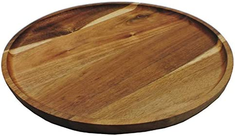 Acacia Wood Round Plate Serving Tray Wooden Platter Home Cheese Dishes