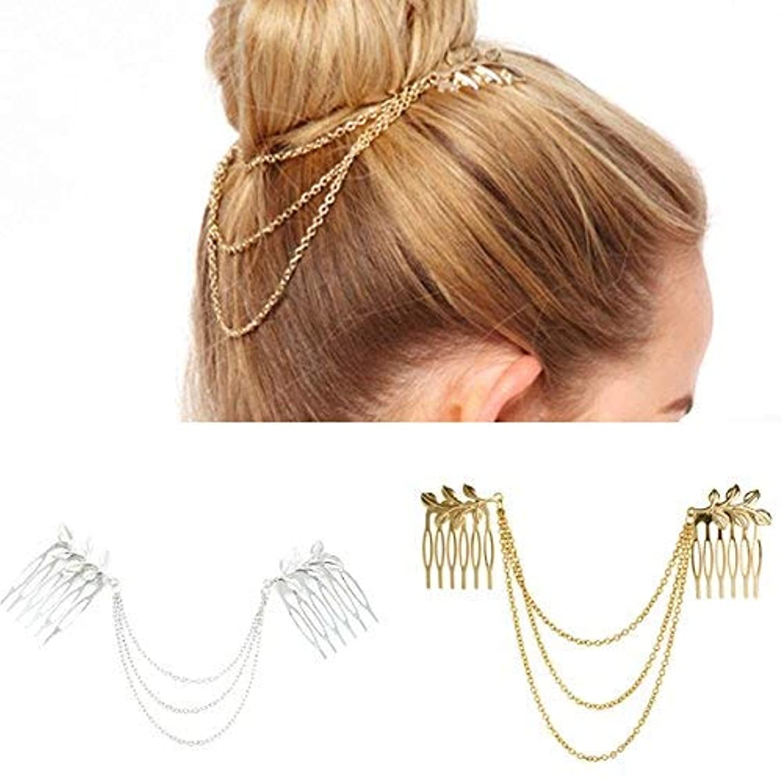 許されるマイコンホーンNumblartd 2 Pcs Women BOHO Chic Metal Leaf Chain Tassel Headband Hair Comb - Fashion Fringe Hair Clip Pins Hairpin HeadPiece Head Band Headwear Hair Accessories for Wedding Party or Everyday Wear [並行輸入品]