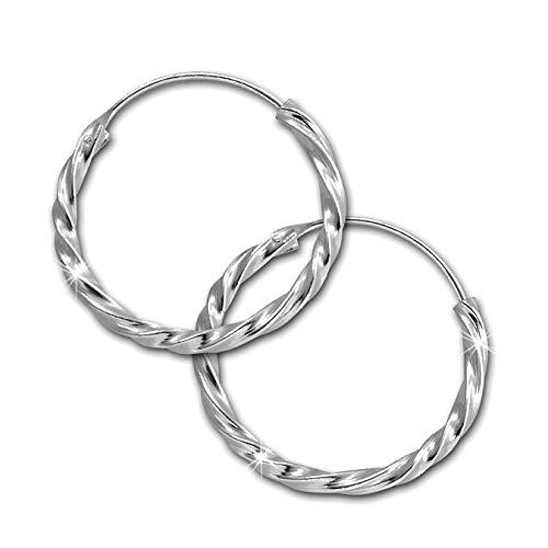 SilberDream - Pendientes de aro trenzados de plata 925para mujer SDO87122