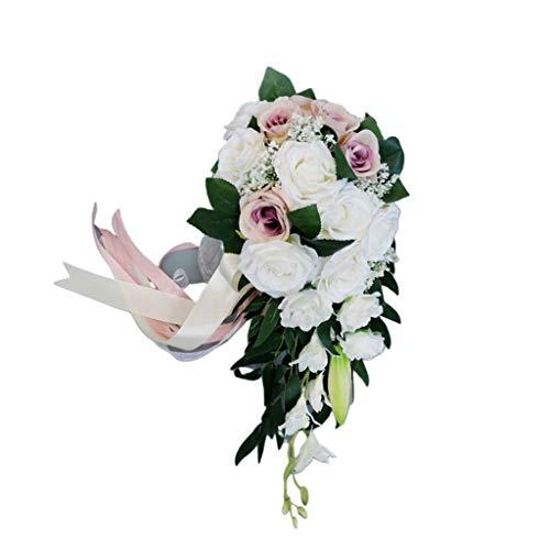 holilest Holding Flowers, Matrimonio Romantico Bouquet da Sposa a Cascata Fiori Artificiali di Rose con Nastro-A