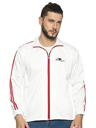 HPS Sports Men's Regular Fit Zip Closure Track Jacket ( HPSJKT515_M_White_M )