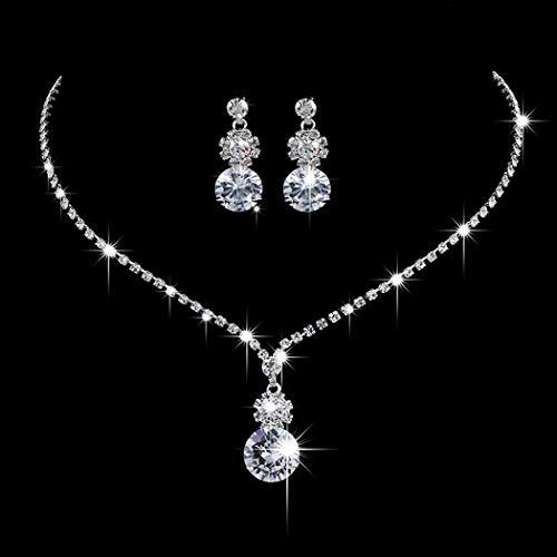 Ushiny Conjunto de joyería de boda de plata de cristal nupcial collar y pendientes conjunto de gargantilla de diamantes de imitación para mujeres y niñas (459#)