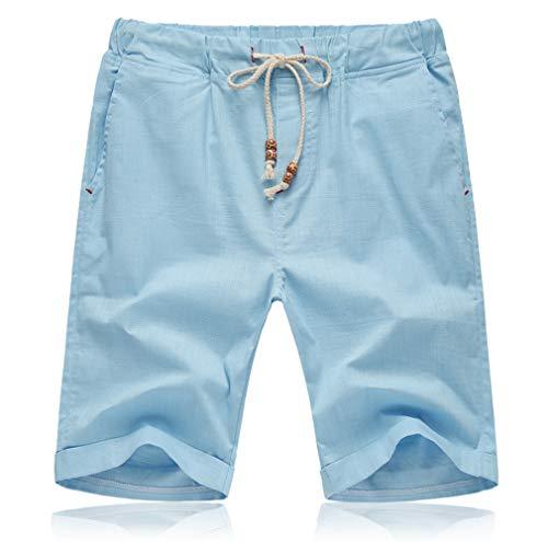 Tansozer Kurze Hosen Herren Shorts Sommer Bermuda Baumwolle Leinen mit Gummizug Taschen Hellblau L