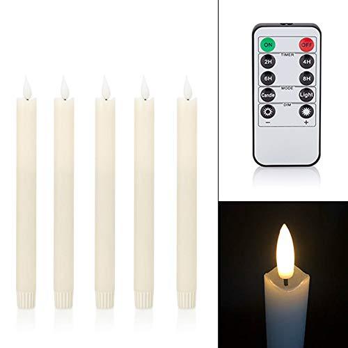 5 LED Stabkerzen Tafelkerzen mit Echtflamme, Fernbedienung, Dimmer und Timer aus Echtwachs - viele Farben wählbar (Elfenbein)