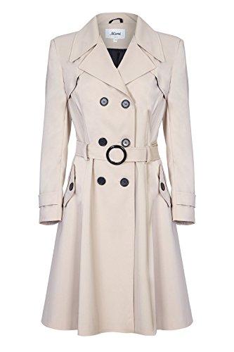 De La Creme - Beige Damen Frühling Belted Trenchcoat Größe 42