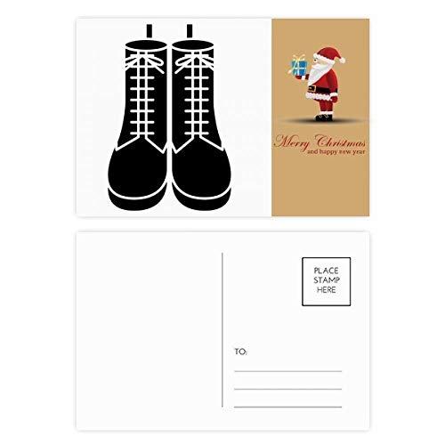 Heren Zwarte Hoge Laarzen Patroon Silhouette Kerstman Postkaart Set Thanks Card Mailing 20 stks