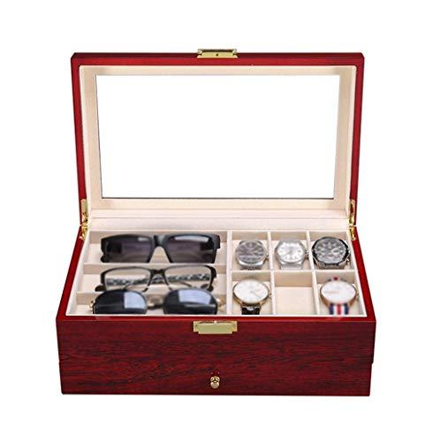 AMAFS Caja de Reloj para Hombre Organizador de exhibición de Relojes Caja de Almacenamiento de Gemelos de joyería de 2 Capas con cajón 6 Cojines extraíbles y Tapa de Vidrio, Rojo Beautiful Home