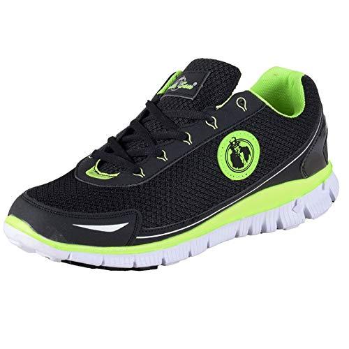 Uncle Sam Herren Leichtlaufschuhe Sneaker Sportschuhe Joggingschuhe mit Kreis-Logo Schwarz/Neongrün, Größe:44, Farbe:schwarz/grün
