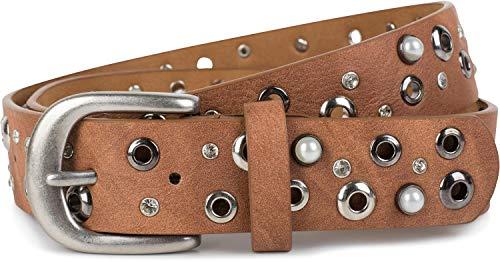 styleBREAKER Damen Gürtel mit Perlen, Strass und Nieten, Vintage Nietengürtel, kürzbar 03010090, Farbe:Camel, Größe:95cm