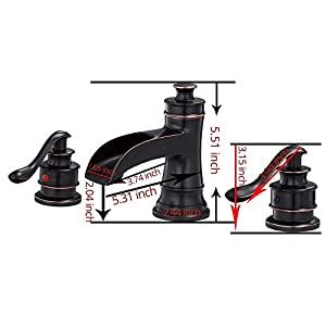 Greenspring Waterfall 8-16 Inch 3 Holes Two Handle Widespread Bathroom Sink Faucet Oil Rubbed Bronze