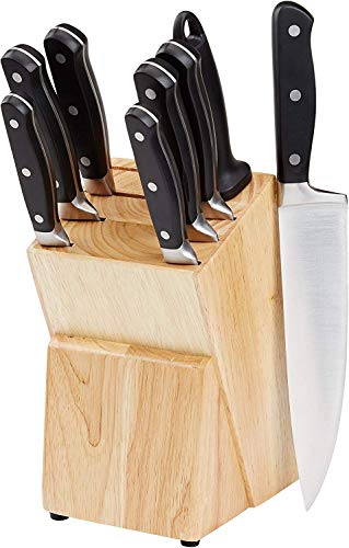 AmazonBasics Premium 9-Piece Kitchen Knife Block Set