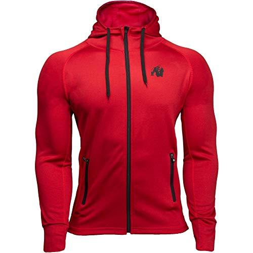 GORILLA WEAR Bridgeport Zipped Hoodie - rot - Bodybuilding und Fitness Jacke für Herren, 4XL