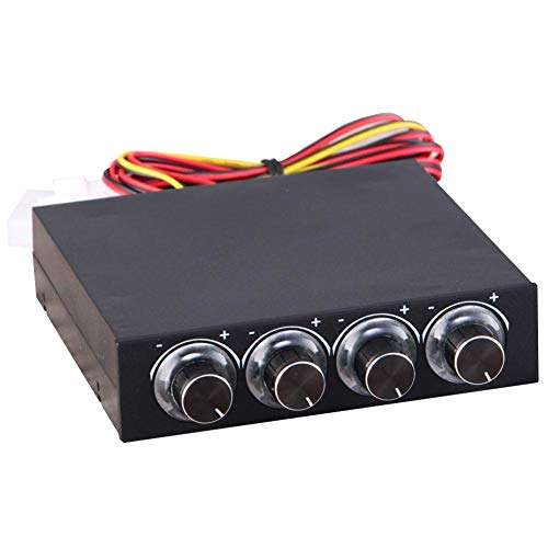 Controlador de velocidad del ventilador para PC, controlador de velocidad y temperatura del ventilador de computadora de 4 canales con LED azul para reducción de calor para ventilador de computadora
