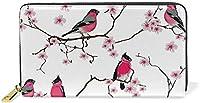 花柄 桃花柄 鳥柄 モモの花 レディース 長財布 アンレザー 現金 カードケース プレゼント用