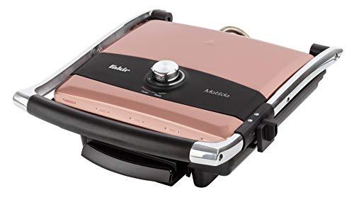 Fakir Matilda/Sandwichmaker, Kontaktgrill, Aluminiumguss, Multigrill, Edelstahl- Sandwichtoaster, mit Temperaturregler, antihaftbeschichtet, 2 Farben - 2.000 Watt (Rosie)