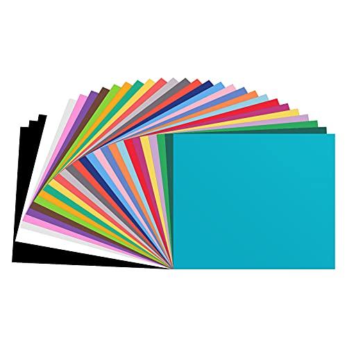 Paquete de 30 hojas de vinilo autoadhesivas permanentes de 12x12 pulgadas hojas de vinilo autoadhesivas de 27colores hojas de vinilo adhesivo Cricut para pancartas con logotipos decoración 30,5x30,5cm