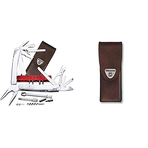 Victorinox Multifunktionswerkzeug Swiss Tool Spirit XC Plus Ratchet (36 Funktionen, Etui) silber & Zubehör Lederetui braun Swiss Tool Spirit Mantel, One Size