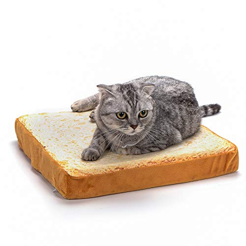 Vealind Cat Bed Mat Toast Slice of Bread Super Cute Warm Mattress Beds for Cats & Puppy