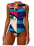 Chagoo Costume da Bagno Intero per Donna 2021, Costume da Bagno Donna Estate Graffiti Stampa Astratta Spalline Larghe Collo Alto Costumi da Bagno Senza Schienale Blue XL