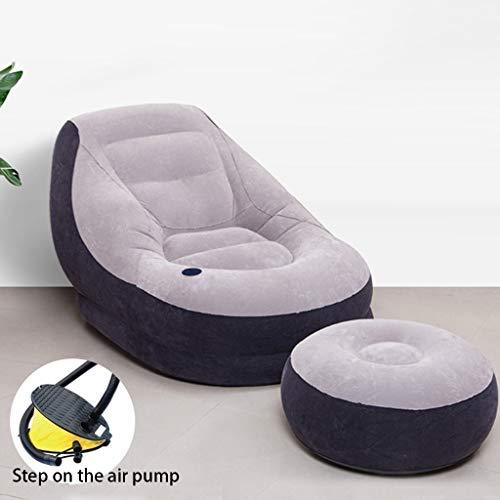 XXLlqRacks Sillón Inflable con otomana y Bomba de Aire Blow Up Air Lazy Sofa Set para Interior al Aire Libre Camping Garden - Sillón Lounge portátil Cojín Flocado con reposapiés
