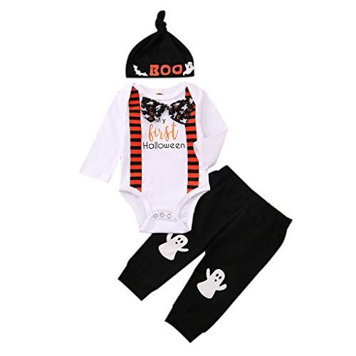 I3CKIZCE Conjunto Bebé Niño 1er Halloween Manga Larga + Pantalones Largos + Gorro Estampado Pajarita Conjunto Bebé Niños Fiesta 0-24 Meses (Rojo, 0-3 Meses)