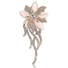 Idea Regalo - WayOuter Spilla da Donna spilla da donne elegante, con bouquet, crisoberillo, da sposa (argento)