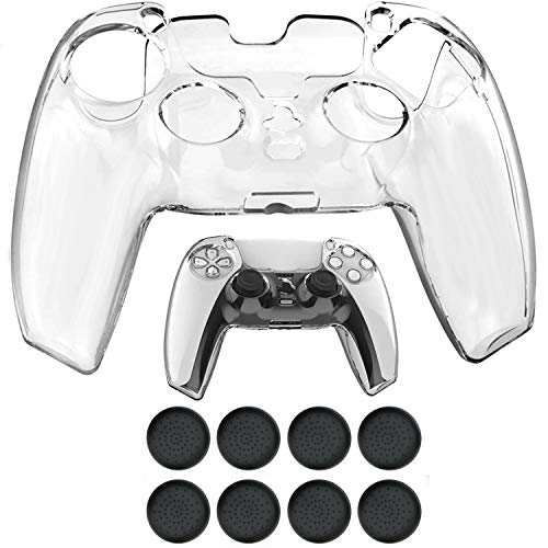 PS5 Controller Cover DualSense Shell Skin Clear PC Hard Protector Cover Case for Sony Playstation 5 Controller with Thumb Grips x 8 (Clear)