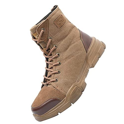 Acero Calzado de Seguridad Deportivo,Ligeras con Puntera de Acero Zapatos de Trabajo Zapatillas de Seguridad Antideslizante Unisex,Brown▁37